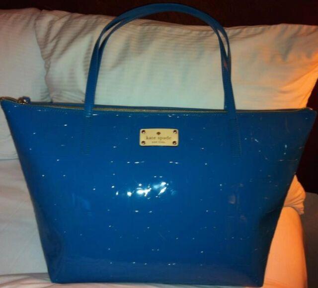 New Kate Spade Handbag Schoolbox Sophie Ace Of Spades Purse Bag Tote Blue 178
