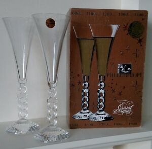 cristal d 39 arques millenium 2000 champagne glasses flutes crystal france ss ebay. Black Bedroom Furniture Sets. Home Design Ideas
