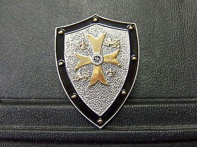 Pin Schild mit Kreuz Wappen Templer Kreuzritter - 4 x 3 cm