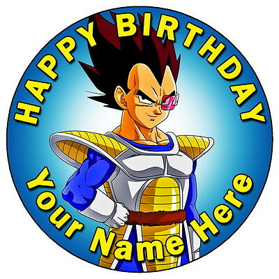 """2 DRAGON BALL Z GOKU PARTY 7.5/"""" PERSONALISED ROUND EDIBLE ICING CAKE TOPPER"""