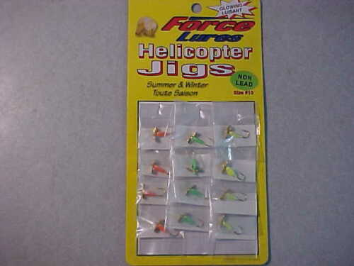 12 NEW HELICOPTER JIGS fishing SIZE 10 LEAD FREE   NON LEAD ICE ASSORTED COLORS