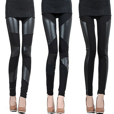 Sexy fashion ladies black leather stitching and elastic  leggings