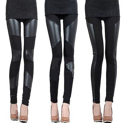 Sexy fashion ladies black leather stitching and elastic  leggings