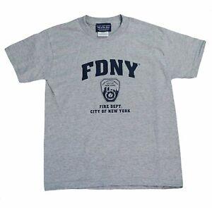 FDNY Kids Long Sleeve Screen Print T-Shirt Navy White NYFD Tee Boys Youth M