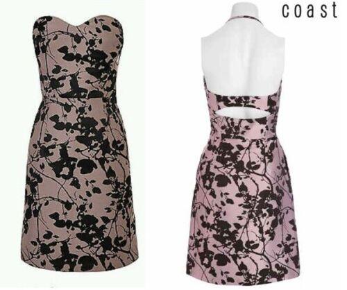 BNWT New COAST Pink Purple Leaf Bandeau Cut Out Back Detail Dress 14 or 16 £115