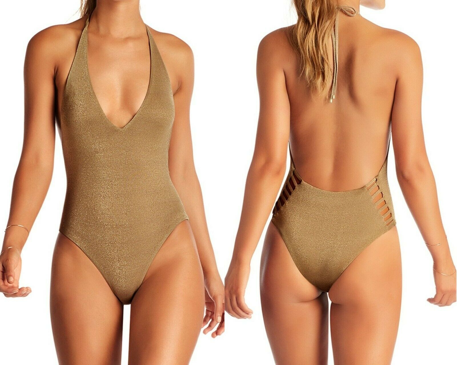 Vitamin A white Bodysuit one-piece swimsuit sz XL bronze metallic gold