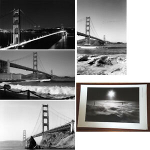 Details About Set Of 5 Prints Of The Golden Gate Bridge In San Francisco Black White