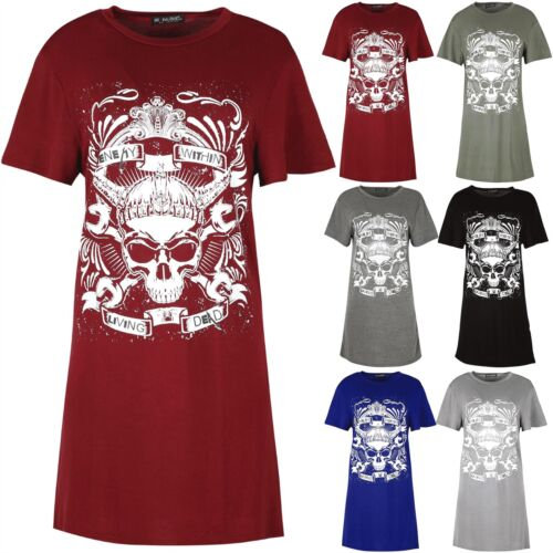 Womens Ladies Skull Enemy Within Living Dead Baggy Pince Long T Shirt Dress