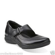 New Clarks Women's Wave Wish Mary Jane Black Leather Shoe 26113435 SZ 10 M