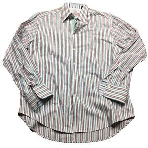 ROBERT-GRAHAM-STRIPED-Flip-Cuff-XL-FUNKY-Shirt-Pink-White-Blue-Brown