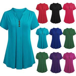 Women-Summer-Short-Sleeve-VNeck-Party-Work-Plus-T-Shirt-Tee-Tops-Blouse-Size4-20