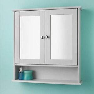 Details About Wall Mounted Double Mirror Door Bathroom Cabinet Grey Wooden Storage Shelf Unit