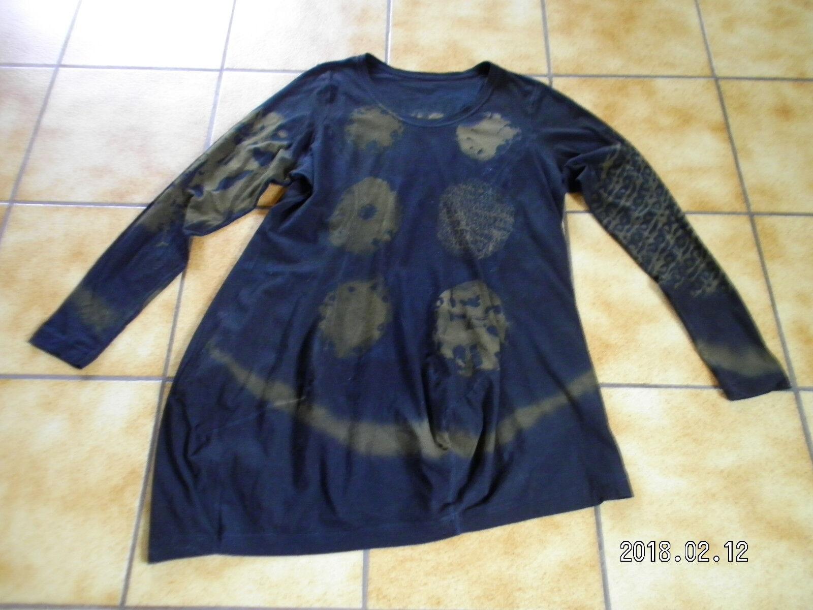 Rundholz schwarz Label,Tunika  Shirt,Gr.XL,handbemalt,Lagenlook,gut.gepfl.Zustand