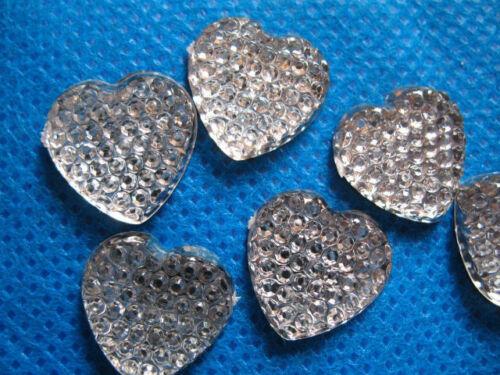10 x 16MM FLAT BACK RESIN SILVER HEART GEMS EMBELLISHMENTS PHONE CASE HEADBANDS