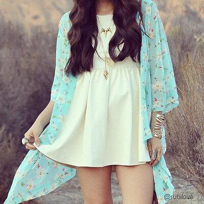 2016 Womens Summer Floral Sheer Lace Chiffon Kimono Cardigan Blouses Jacket Coat