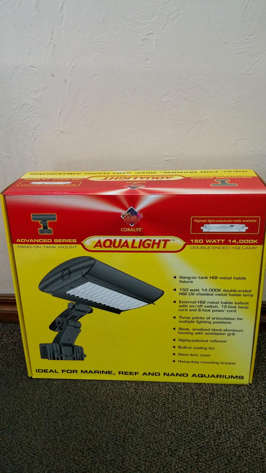 Coralife Aqualight 150W HQI Clamp on Lamp Lighting Fixture w 1 LEDs & Fan