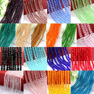 4-6-8-10mm-Rondelle-Faceted-Crystal-Glass-Loose-Beads-Diy-Findings-Multicolor-NT