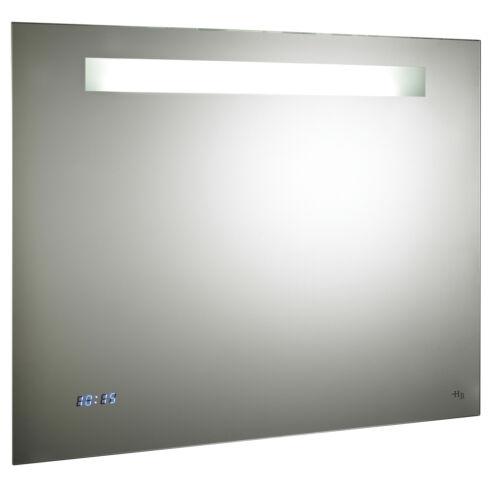 Hudson Reed Vizor Motion Sensor Bathroom Mirror Shaver Socket Modern /& Clock