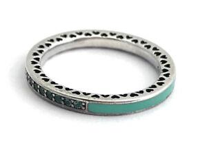 dac27f1e7 Authentic Radiant Hearts of Pandora Ring Mint Green 191011NRG-54 Sz ...