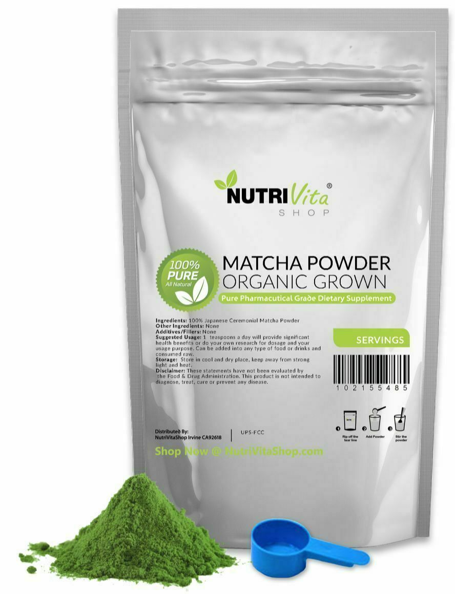 100% Pure Matcha Green Tea Powder Organically Grown Japanese nonGMO Vegan Japan