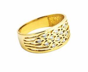 Damenring-Gelbgold-585-mit-handgeschmiedeten-Zirkoniasteinen