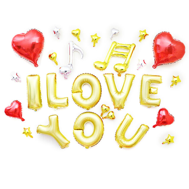 """16"""" Gold Letters Foil Balloons ''I Love You '' + Heart & Star kit for party"""