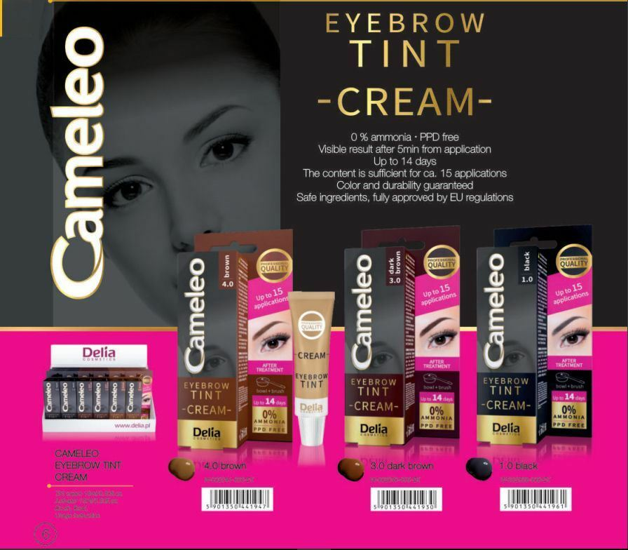 Details zu Delia Cosmetics Professional Cameleo Eyebrow Tint Cream Dye Kit  Set Full Kit