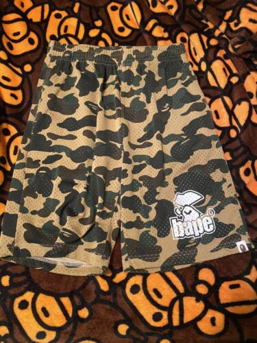 A BATHING APE 1st camo mesh shorts yellow Camo *Si