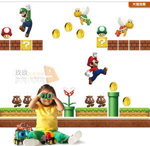 Super-Mario-Anime-Manga-3D-Wandtattoo-Wandaufkleber-Wandsticker-Wanddekos