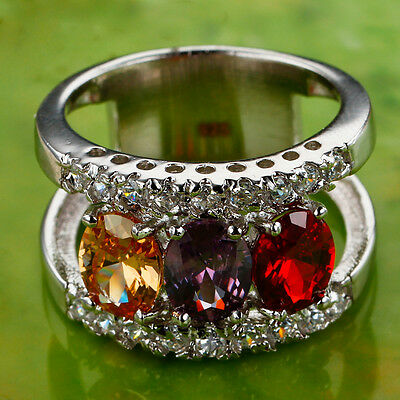 Garnet & Amethyst & Morganite & White Topaz Gemstone Silver Ring Size 9 Oval Cut