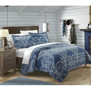 Chic-Home-QS2693-US-Pastola-Reversible-Printed-Quilt-Quilt-Set-Navy-Twin