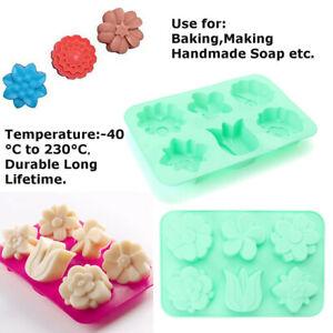 6-Cavity-Flower-Shaped-Silicone-Soap-Mold-DIY-Handmade-Candle-Cake-Mold-AU