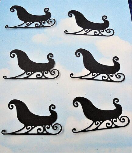Embellissements Toppers Die Cut Christmas Sleigh x 6 noir silhouette