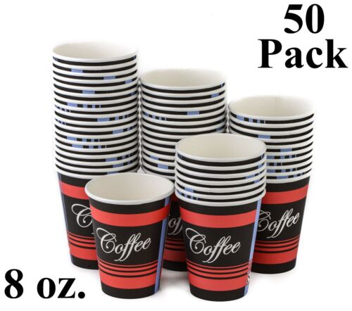 50 Pack 8 Oz Eco Friendly Disposable Poly Paper Hot Tea Coffee Cups No Lids