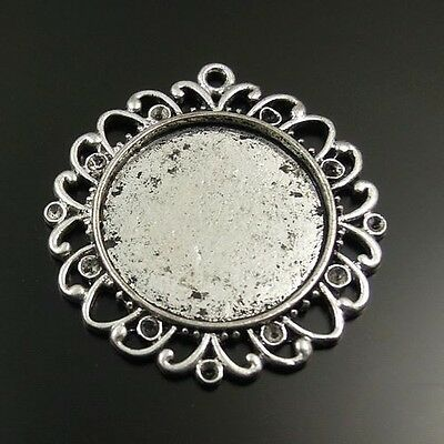 25mm Vintage Style Atq Silver Alloy Round Cameo Setting Cab Tray Pendant 20pcs