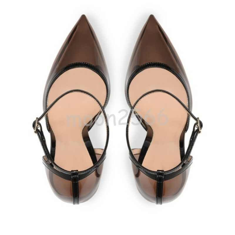 Womens Transparent Pointy Toe Ankle Strappy Pumps Pumps Pumps Spring shoes OL Stilettos 2019 a7f3ab