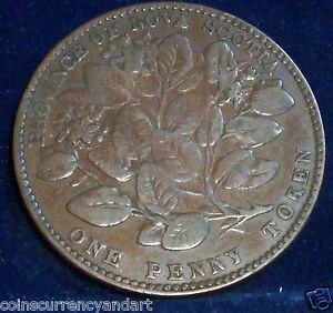 NS-6A1-Nova-Scotia-ONE-Penny-Token-1856-Victoria-Heraldic-flowers-Breton-875