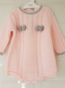 413a87c35 Spanish Style Baby Girls Knitted Pink / Grey Pom Pom Romper Outfit ...