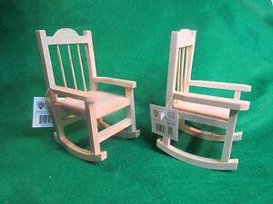 Image Is Loading Two Unfinished Wood Decorative Mini Adirondack Rocking  Chairs