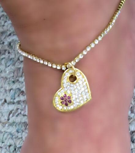 Open  parve Heart amythest Color crystals  Flower  Gold gep Anklet Bracelet