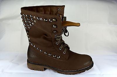 Schnürer Damen Schuhe Stiefeletten Boots Schnürschuhe Gr.36-41 Khaki Neu A.5867