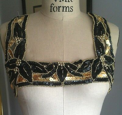 Wide Bead & Sequin Neckline Bodice Applique - BLACK & GOLD