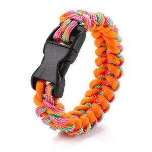 New Paracord Parachute Cord Emergency Survival Fishbone Bracelet Orange-Blue