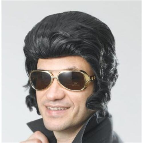 Fancy Dress Rock 50s Accessory King Star Black Elvis Wig With Big Sideburns