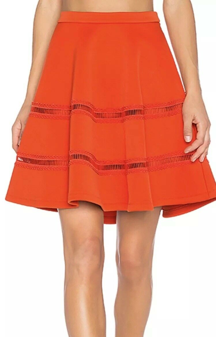 Carven Womens Red Cut-Out A-Line Textured Mini Skirt M  380 NWT