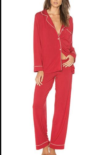 Eberjey Gisele Pajama Set Sz Small Long Sleeve Red