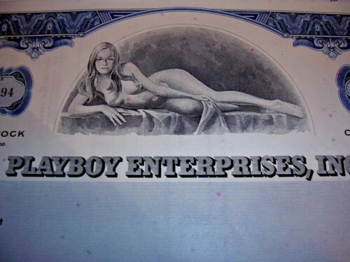 Hef's Signature ! YES!!!! Buy now YES!!! PLAYBOY STOCK CERTIFICATE
