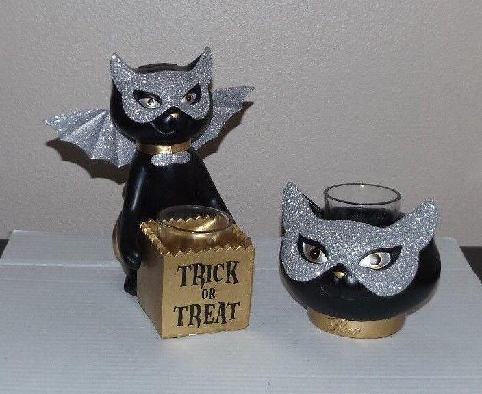 Yankee Candle Halloween SOPHIA Cat Votive Holder LOT of 2 Trick Treat Masked ^v^