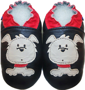 Minishoezoo-leather-shoes-toddler-slippers-dog-black-24-36m-US-9-10