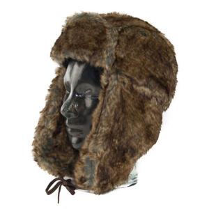 lisse vraiment à l'aise Détails sur Hiver Bonnet Trappeur Chasse Russe Chaude Marron Fausse  Fourrure Chapeau